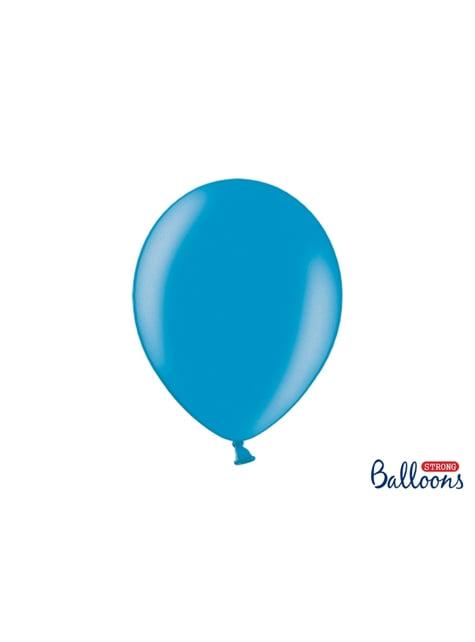 10 extra sterke ballonnen in metallic licht turkoois (30 cm)