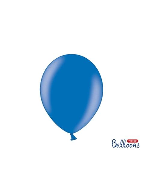100 extra sterke ballonnen in metallic blauw (30 cm)