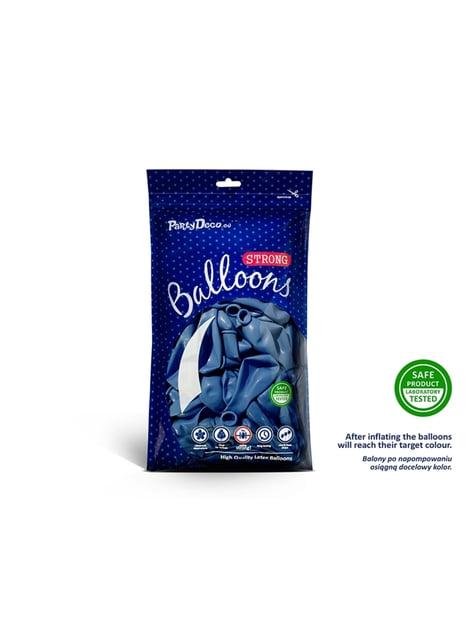 100 globos extra resistentes azul metalizados (30 cm)