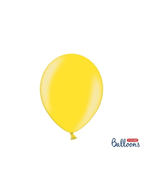 Set de 100 globos extra resistentes amarillo claro metalizados