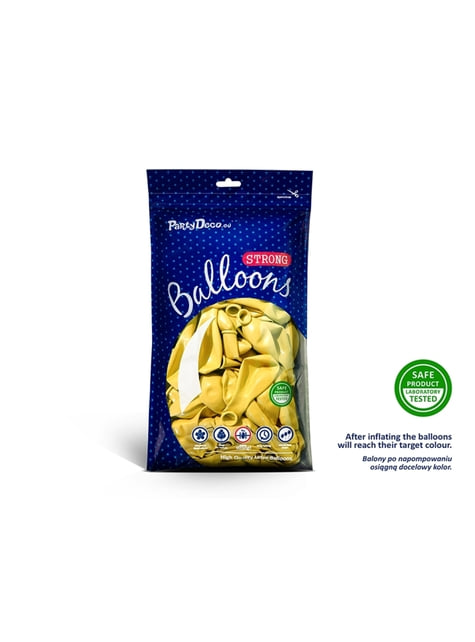 100 globos extra resistentes amarillo claro metalizados (30 cm)