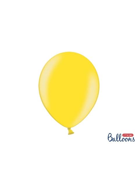10 ekstravahvaa ilmapalloavaalean metallisen keltaisena (30cm)