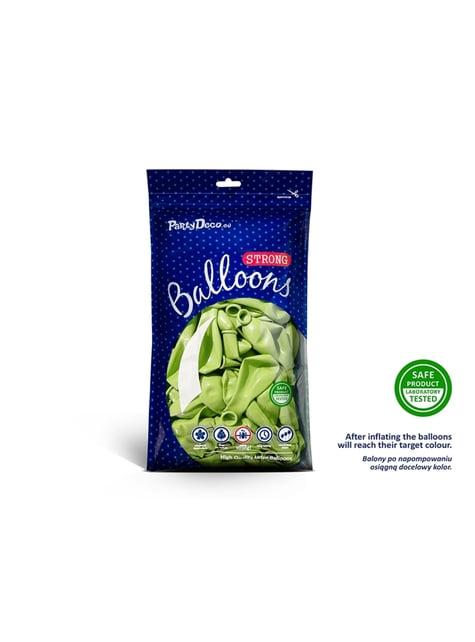 100 globos extra resistentes verde lima metalizados (30 cm)
