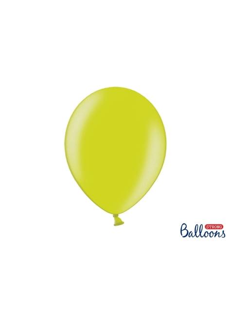 10 ballons extra résistants vert citron métallisés (30 cm)