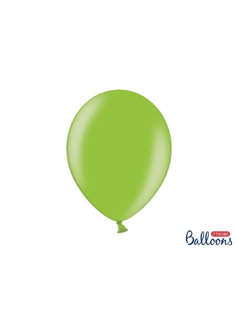 100 globos extra resistentes verde brillante metalizados (30 cm)