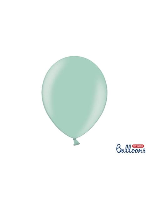 100 balões extra resistentes verde menta metalizado (30cm)