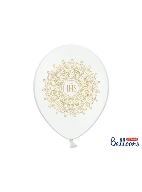 6 balões brancos e dourados de latex primeira comunhão (30cm)