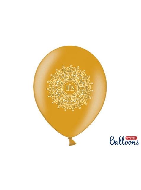 6 balões dourados de latex primeira comunhão (30cm)