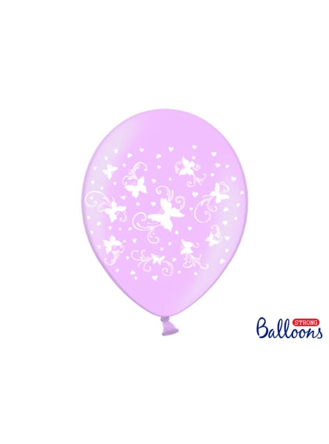 6 ballons roses pastel avec papillons blancs (30 cm)