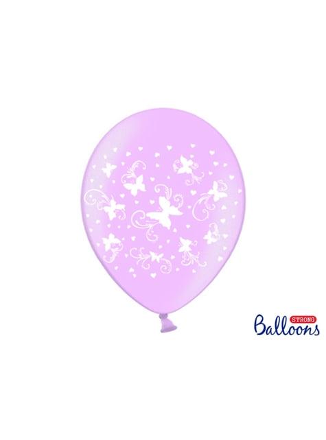 6 Luftballons pastellrosa mit weißen Schmetterlingen (30 cm)