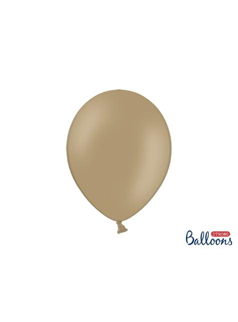 10 extra sterke ballonnen in pastel licht bruin (30 cm)