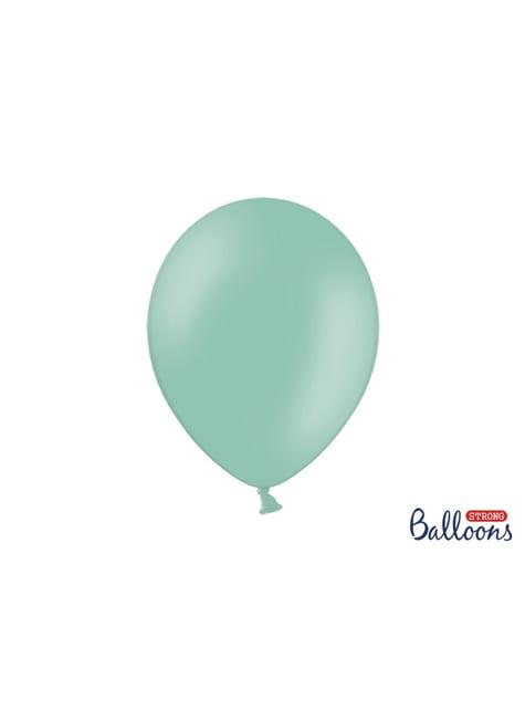 10 extra sterke ballonnen in glimmend munt (30 cm)