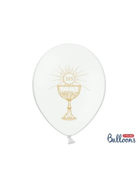 6 balões brancos de latex primeira comunhão (30cm)
