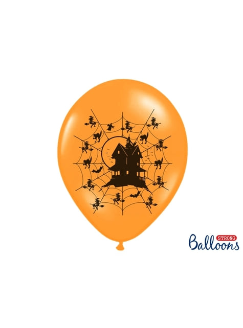 50 latex balloons in orange with haunted house (30 cm)