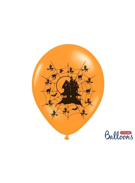 50 latex balloons in oranje met spookhuis (30 cm)