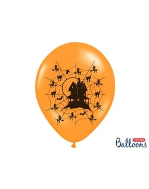 नारंगी में एक प्रेतवाधित घर के 6 लेटेक्स गुब्बारे (30 सेमी)