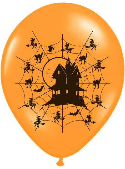 6 balões laranja de latex casa encantada (30cm)