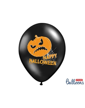 6 latex balloons in black with pumpkins (30 cm)