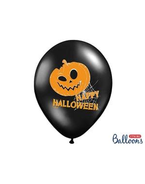 6 бр. Латексови балони в черен цвят и тикви (30 см)