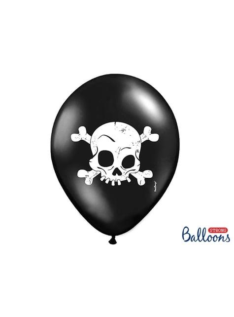 6 balões pretos de latex com caveira (30cm)
