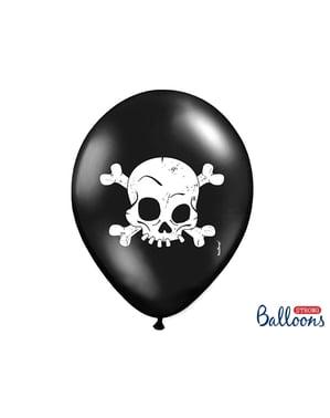 खोपड़ी के साथ काले रंग में 6 लेटेक्स गुब्बारे (30 सेमी)