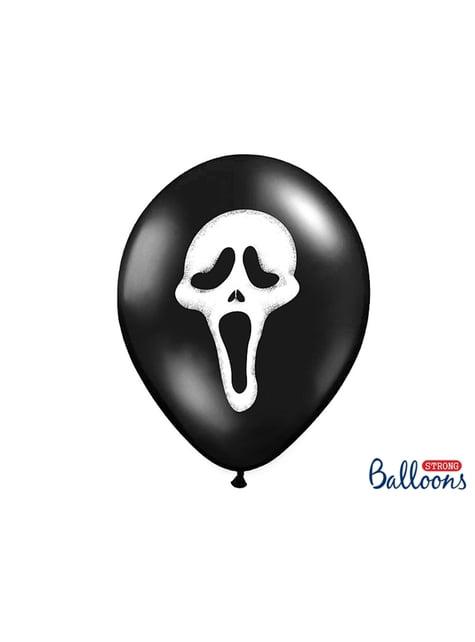 6 balões pretos de latex silhueta maligna (30cm)