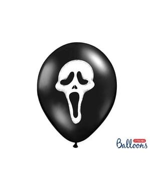 बुराई छाया के साथ काले रंग में 6 लेटेक्स गुब्बारे (30 सेमी)