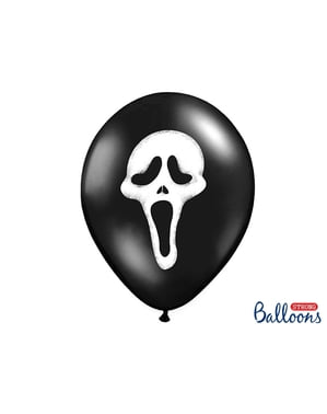 6 latex balloons in black with evil shadow (30 cm)