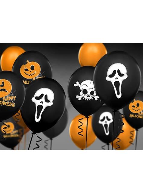 6 Luftballons aus Latex schwarz mit Gespenst (30 cm)