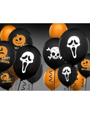 6 latex ballonger i svart med ond skygge (30 cm)