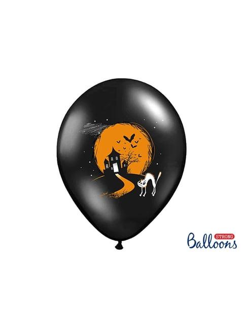 50 latexových balonků černých s duchy (30 cm)