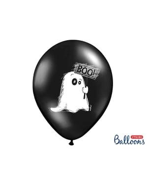 6 Luftballons aus Latex schwarz mit Gespenstern (30 cm)