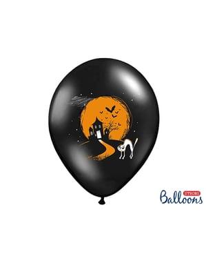 6 lateksi-ilmapalloa mustana haamuilla (30cm)