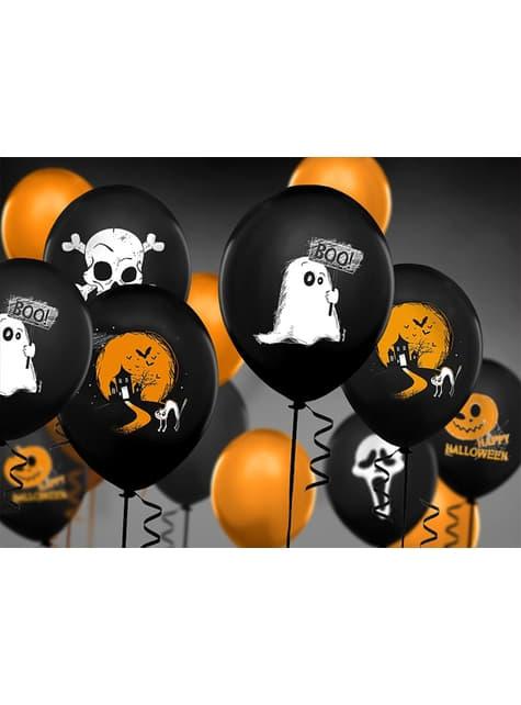 6 globos de látex con fantasmas negro (30 cm)