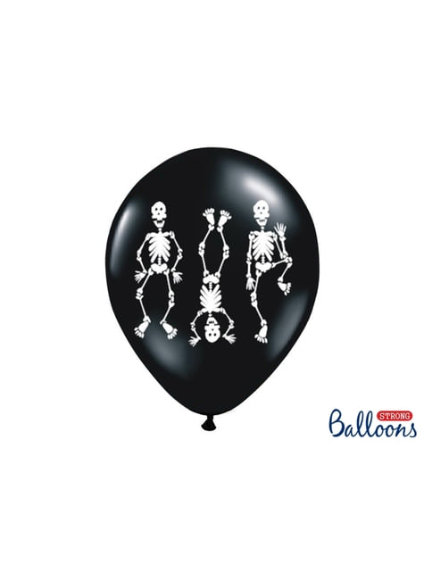 6 globos de látex con esqueletos negro (30 cm)