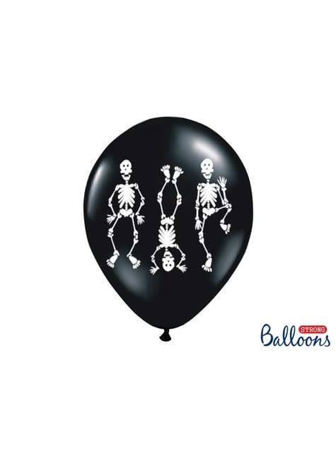6 latex ballonen in zwart met skeletten (30 cm)
