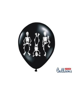 कंकाल के साथ काले रंग में 6 लेटेक्स गुब्बारे (30 सेमी)