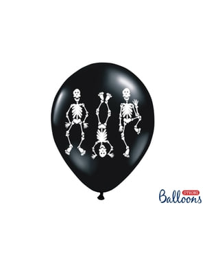6 latex balloons in black with skeletons (30 cm)