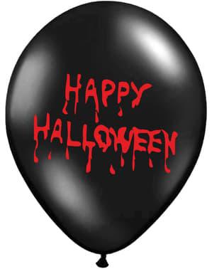 "पस्टेल ब्लैक (30 सेमी) में 50 ""HAPPY HALLOWEEN"" लेटेक्स गुब्बारे"
