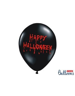 """6 """"हैप्पी हॉलोवेन"""" लेटेक्स गुब्बारे काले रंग में (30 सेमी)"""