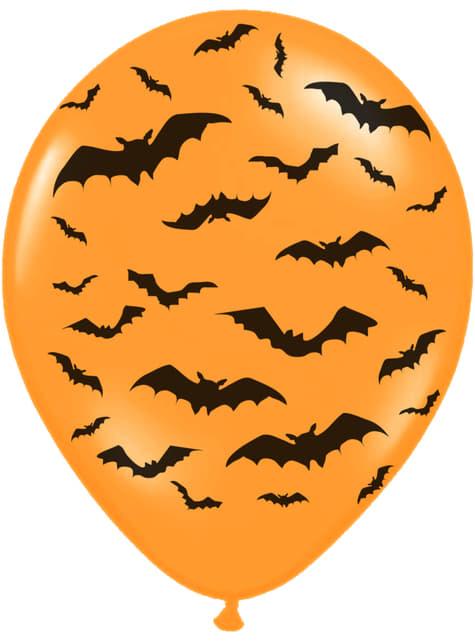 50 latexových balonků oranžových s netopýry (30 cm)