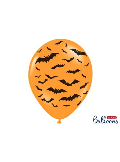 6 balões laranjas de latex com morcegos (30 cm)