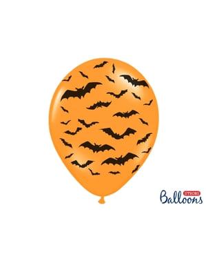 6 lateksi-ilmapalloa oranssina mustilla lepakoilla (30cm)