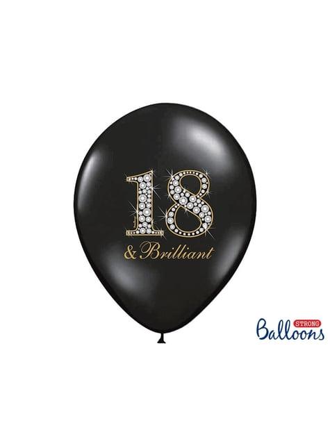6 globos de látex número 18 negro (30 cm)
