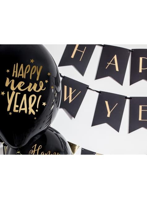 6 balões pretos e dourados de latex para passagem de ano
