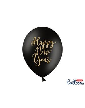 6 додаткових сильних повітряних куль на переддень нового року «HAPPY NEW YEAR» в чорному і золотом (30 см)