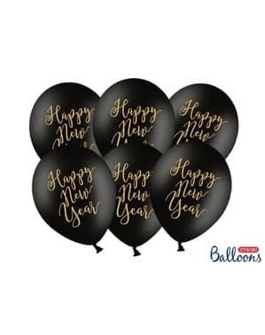 6 czarno-złote balony