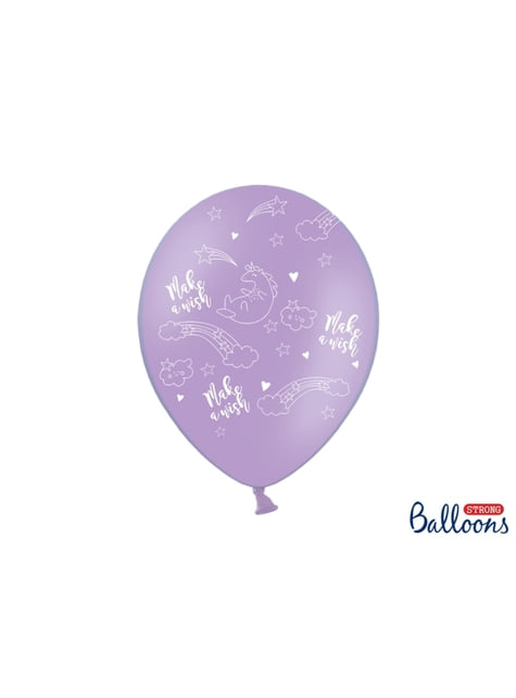 6 globos de látex de unicornio make a wish (30cm) - Unicorn Collection