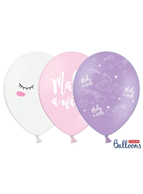 6 globos de látex de unicornio make a wish (30cm) - Unicorn Collection - comprar