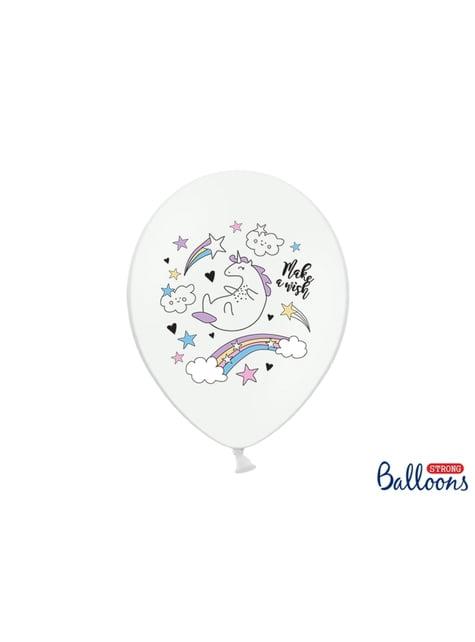 6 balões de latex com unicórnio (30cm) - Unicorn Collection